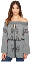 Romeo & Juliet Couture Off Shoulder Embroidered Woven Tunic