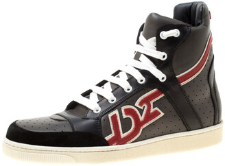 DSQUARED2 Grey/Black Leather And Suede High Top Sneakers Size 41.5
