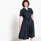 Castaluna Plus Size Poplin Flared Midi Shirt Dress