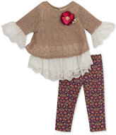 Rare Editions 2-Pc. Lace-Trim Sweater & Printed Leggings Set, Baby Girls (0-24 months)