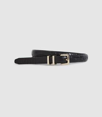 Reiss Lauren - Leather Skinny Belt in Black
