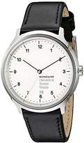 Mondaine Unisex MH1.R2210.LB Helvetica No1 Regular Analog Swiss Quartz Black Leather Watch