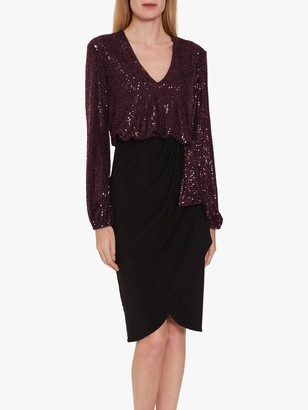 Gina Bacconi Anara Jersey Embellished Midi Dress, Wine