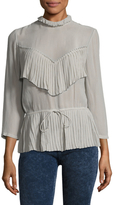 Tracy Reese Victorian 3/4 Sleeve Silk Top