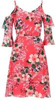 Wallis Coral Floral Print Fit And Flare Dress