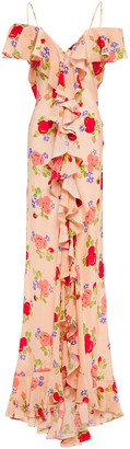 De La Vali Jolene Cold-shoulder Ruffled Floral-print Silk Crepe De Chine Maxi Dress