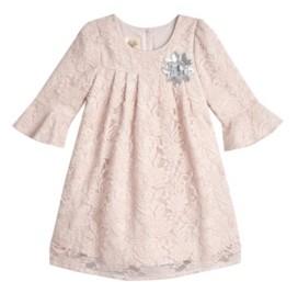 Laura Ashley Little Girls London 3/4 Bell Sleeve Lace Overlay Dress