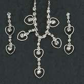 Gc Handcrafted Open Heart Crystal Necklace and Pendant Earrings Set