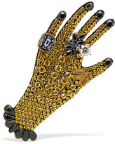 Gucci Gold-tone, Crystal And Faux Pearl Brooch - Yellow