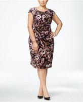 Connected Plus Size Floral Faux-Wrap Dress