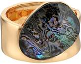 Robert Lee Morris Abalone and Gold Kick Hinge Bangle Bracelet