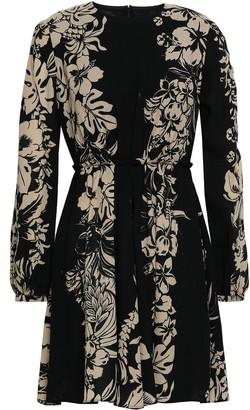 Valentino Pleated Floral-print Wool-crepe Mini Dress