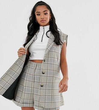 Asos DESIGN Petite sleeveless suit blazer in check