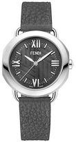 Fendi Stainless Steel Dark Grey Leather Strap Watch, F8030360A6