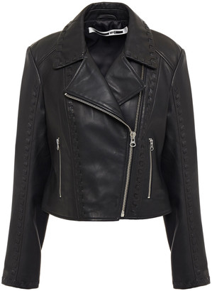 McQ Whipstitched Leather Biker Jacket