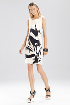 Josie Natori Spring Cotton Brushstroke Embroidered Dress