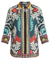 Mary Katrantzou Rita Queens-print silk-twill top