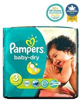 Pampers Baby-Dry Nappies Size 3 Carry Packs - 30 Nappies