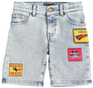 Versace Stretch Cotton Denim Shorts W/ Patch