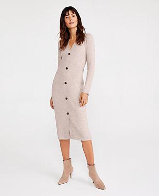 Ann Taylor Petite Marled Button Sweater Dress