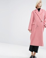 Asos Wool Mix Overcoat With Pearl Fastening
