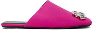Balenciaga Pink Satin Square BB Mules
