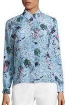 Alice + Olivia Willa Silk Printed Shirt