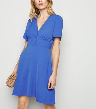 New Look Button Puff Sleeve Tea Dress