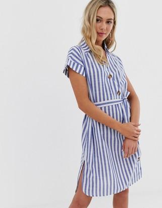 Qed London QED London shirt dress in blue stripe