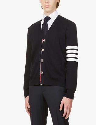 Thom Browne Stripe-detail cotton-knit cardigan