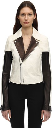 Rick Owens Color Block Leather Jacket W/zip Sleeves