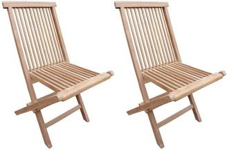 Seven Seas Teak Seaside Outdoor Patio Folding Side Chair, set of 2