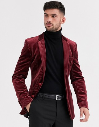 Asos Design DESIGN super skinny blazer in burgundy velvet stripe-Red