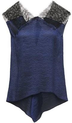 Roland Mouret Dave Chantilly Lace-paneled Draped Satin-jacquard Top