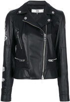 Versus printed back biker jacket - women - Acrylic/Polyester/Acetate/Wool - 42