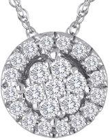 FINE JEWELRY diamond blossom 1/5 CT. T.W. Diamond Cluster Sterling Silver Pendant Necklace