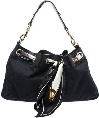 Gucci Black GG Canvas Positano Scarf Hobo