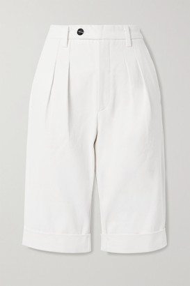 Gold Sign Net Sustain Pedal Pusher Pleated Denim Shorts - White