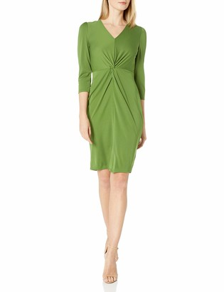 Lark & Ro Amazon Brand Women's Long Sleeve Matte Jersey Twist Front Dress