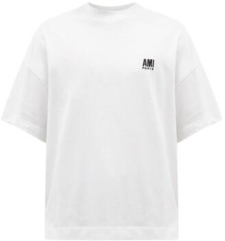 Ami Logo-embroidered Organic-cotton Jersey T-shirt - White