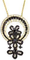 Effy Black and White Diamond Flower Necklace in 14k Gold (1-1/6 ct. t.w.)