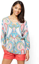 New York & Co. 7th Avenue - Tie-Waist Kimono Blouse - Paisley