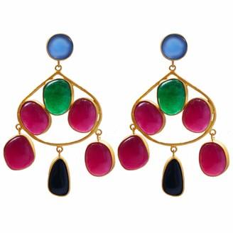 Carousel Jewels Chalcedony Aventurine & Black Onyx Gold Statement Earrings