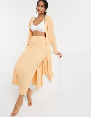 ASOS DESIGN mix and match lounge knitted cardigan in peach
