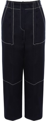 Alexander McQueen Contrast-Stitching Cropped Trousers
