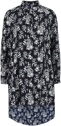 New Look Floral Dip Hem Shirt Dress
