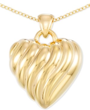 """Signature Gold Diamond Accent Heart 18"""" Pendant Necklace in 14k Gold Over Resin, Created for Macy's"""