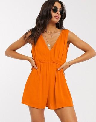 ASOS DESIGN rope drawstring waist detail playsuit in amber