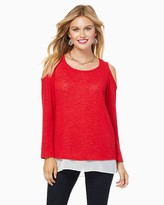 Charming charlie Just A Peek Cold Shoulder Sweater