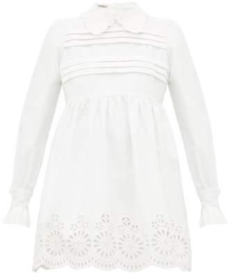 Miu Miu Broderie Anglaise Cotton Blend Mini Dress - Womens - Ivory